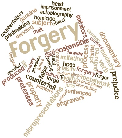 Abstract word cloud for Forgery with related tags and terms Stock Photo - 16602124