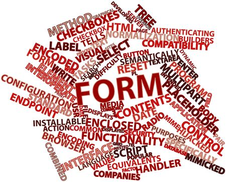 overrun: Abstract word cloud for Form with related tags and terms Stock Photo