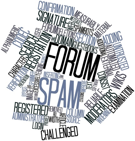 Abstract word cloud for Forum spam with related tags and terms Stock Photo - 16603339