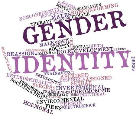hormone  male: Abstract word cloud for Gender identity with related tags and terms Stock Photo
