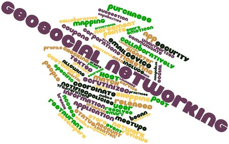 Abstract word cloud for Geosocial networking with related tags and terms Stock Photo - 16601999