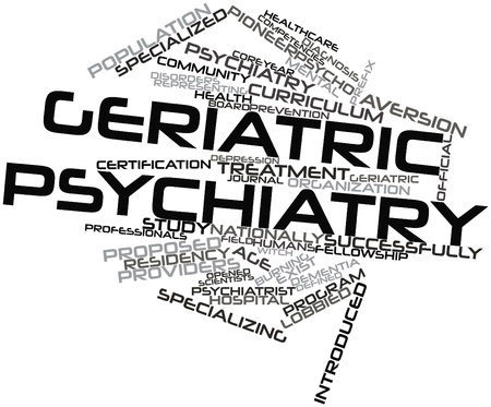 prefix: Abstract word cloud for Geriatric psychiatry with related tags and terms