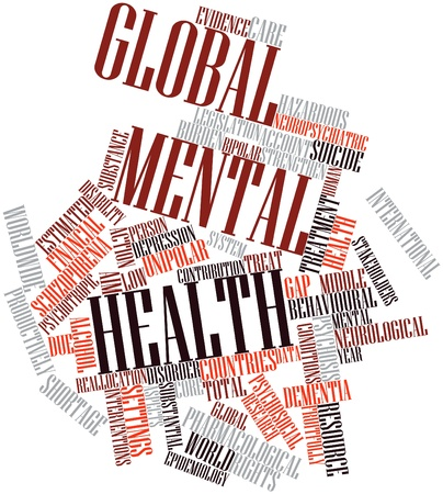 unexplained: Abstract word cloud for Global mental health with related tags and terms Stock Photo