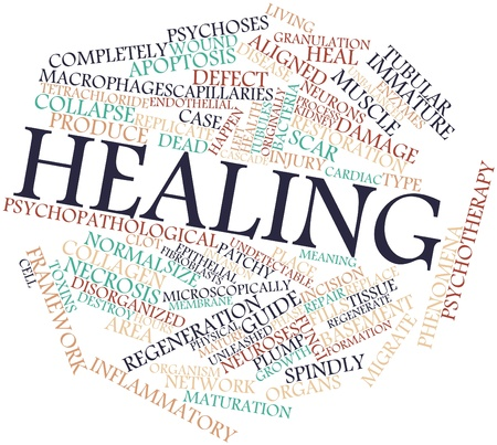 wound: Abstract word cloud for Healing with related tags and terms