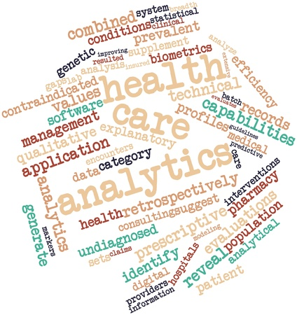 health information: Abstract word cloud for Health care analytics with related tags and terms Stock Photo
