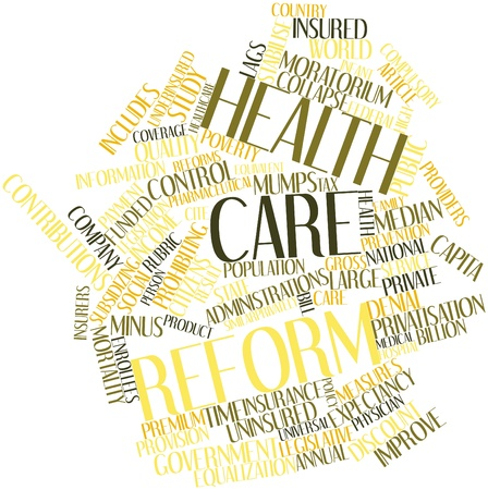 health information: Abstract word cloud for Health care reform with related tags and terms