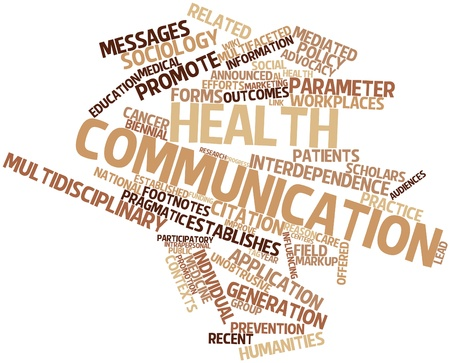 Abstract word cloud for Health communication with related tags and terms photo