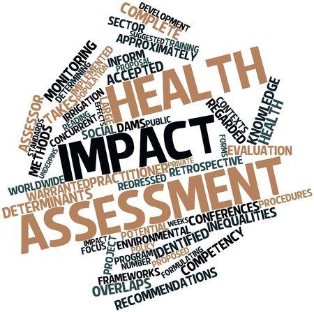 evaluacion: Nube palabra abstracta para la Salud de evaluación de impacto con las etiquetas y términos relacionados