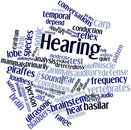 brainstem: Abstract word cloud for Hearing with related tags and terms Stock Photo