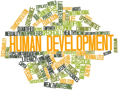 authorship: Abstract word cloud for Human development with related tags and terms Stock Photo
