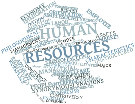 Abstract word cloud for Human resources with related tags and terms photo