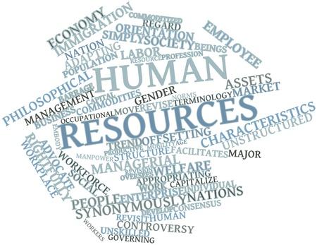 relaciones laborales: Nube de palabras Resumen de los recursos humanos con las etiquetas y términos relacionados Foto de archivo
