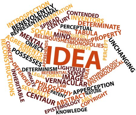 invent things: Abstract word cloud for Idea with related tags and terms Stock Photo