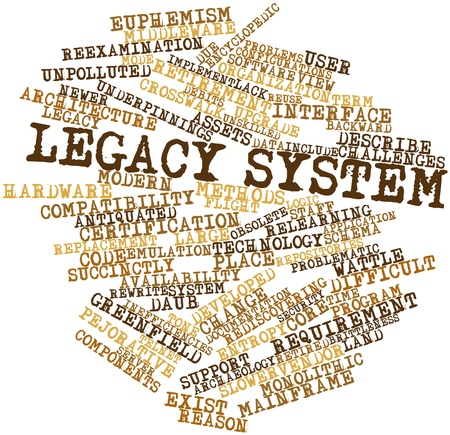 developed: Abstract word cloud for Legacy system with related tags and terms Stock Photo
