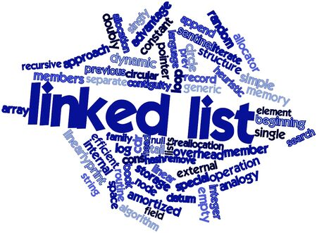 singly: Abstract word cloud for Linked list with related tags and terms Stock Photo