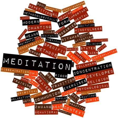 Abstract word cloud for Meditation with related tags and terms Stock Photo - 16603349