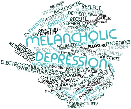 depressive: Abstract word cloud for Melancholic depression with related tags and terms