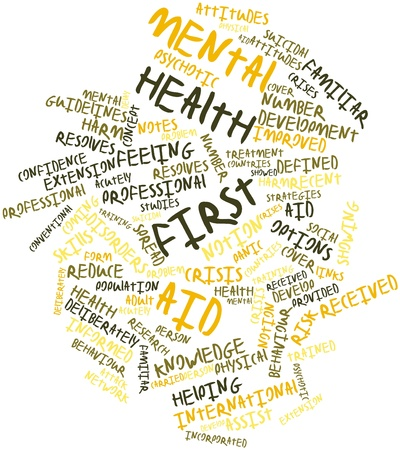 Abstract word cloud for Mental health first aid with related tags and terms photo