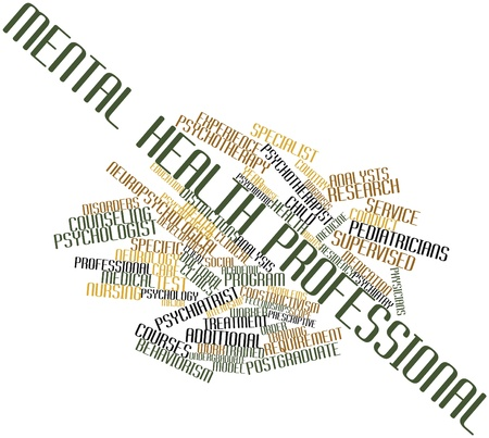 distinctions: Abstract word cloud for Mental health professional with related tags and terms