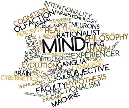 inteligencia emocional: Nube de palabras con la mente abstracta para etiquetas y t�rminos relacionados Foto de archivo