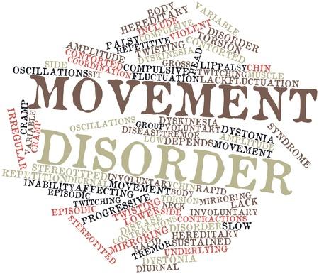 desorden: Nube palabra abstracta para el trastorno de movimiento con las etiquetas y términos relacionados