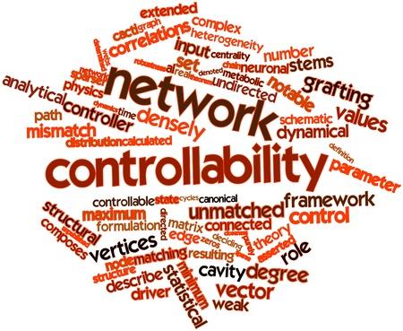 arbitrario: Nube palabra abstracta para control de red con las etiquetas y términos relacionados Foto de archivo