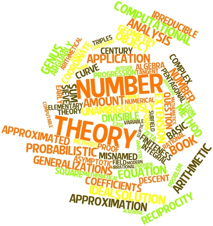 arithmetical: Abstract word cloud for Number theory with related tags and terms Stock Photo