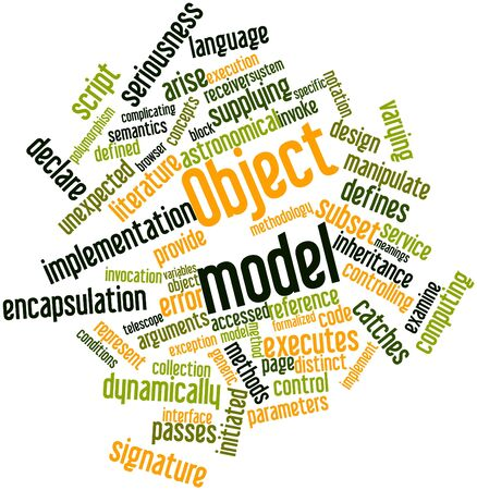 semantics: Abstract word cloud for Object model with related tags and terms