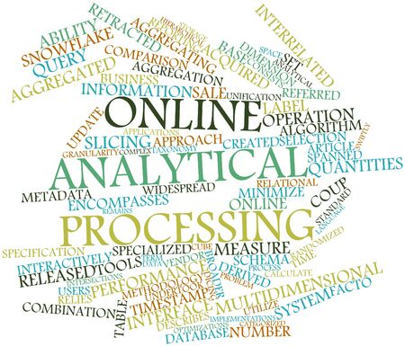 time specification: Abstract word cloud for Online analytical processing with related tags and terms Stock Photo