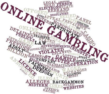ruling: Abstract word cloud for Online gambling with related tags and terms Stock Photo