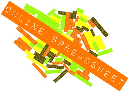 Abstract word cloud for Online spreadsheet with related tags and terms Stock Photo - 16601998