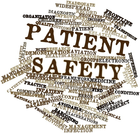 Abstract word cloud for Patient safety with related tags and terms