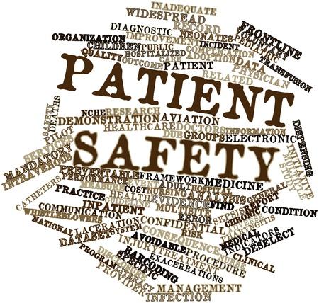 enfermera con paciente: Nube de palabras abstracto para la seguridad del paciente con las etiquetas y términos relacionados
