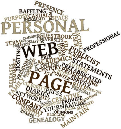 interchangeably: Abstract word cloud for Personal web page with related tags and terms Stock Photo