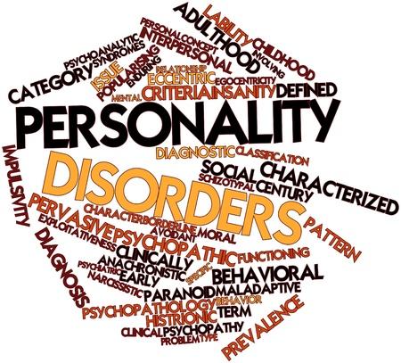 desorden: Nube palabra abstracta para los trastornos de la personalidad con las etiquetas y términos relacionados Foto de archivo