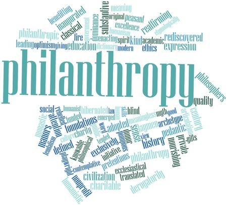 pompous: Abstract word cloud for Philanthropy with related tags and terms Stock Photo