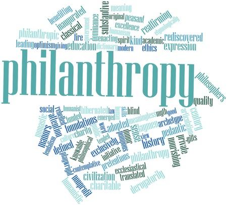 humanismo: Nube palabra abstracta para la Filantropía con etiquetas y términos relacionados Foto de archivo