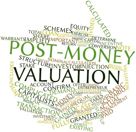valuation: Abstract word cloud for Post-money valuation with related tags and terms Stock Photo