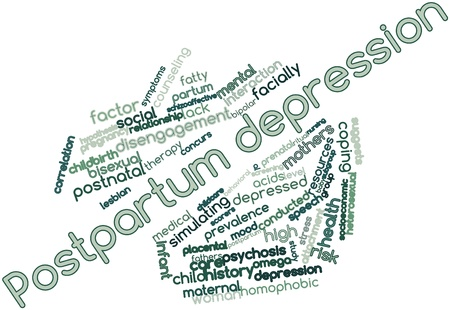 grams: Abstract word cloud for Postpartum depression with related tags and terms Stock Photo