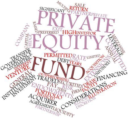 �quit�: Nuage de mot abstrait pour le fonds de Private equity avec des �tiquettes et des termes connexes