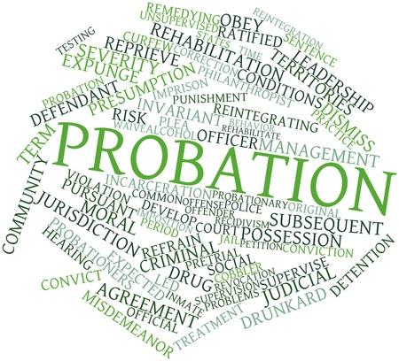 incartade: Nuage de mot abstrait de la probation avec des �tiquettes et des termes connexes