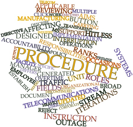 Abstract word cloud for Procedure with related tags and terms Stock Photo - 16603346