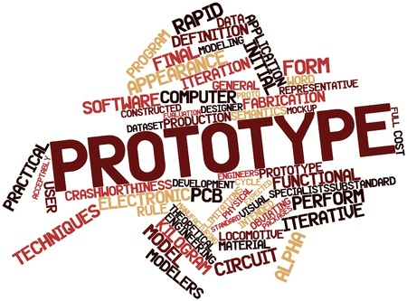 pcb: Abstract word cloud for Prototype with related tags and terms Stock Photo