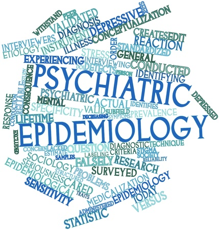 Abstract word cloud for Psychiatric epidemiology with related tags and terms Stock Photo - 16603390