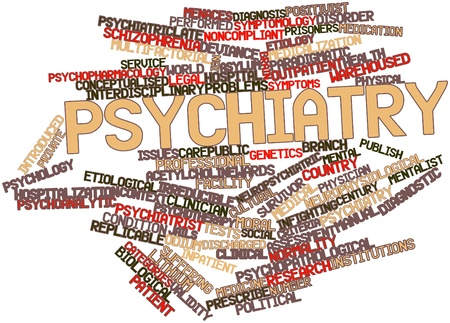 medical evaluation: Abstract word cloud for Psychiatry with related tags and terms Stock Photo