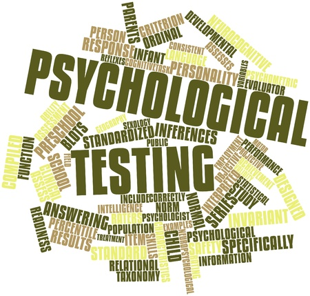 Abstract word cloud for Psychological testing with related tags and terms Stock Photo - 16602755
