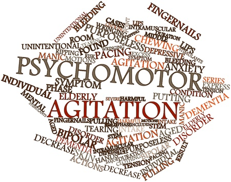Abstract word cloud for Psychomotor agitation with related tags and terms