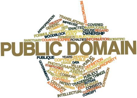 public domain: Abstract word cloud for Public domain with related tags and terms Stock Photo