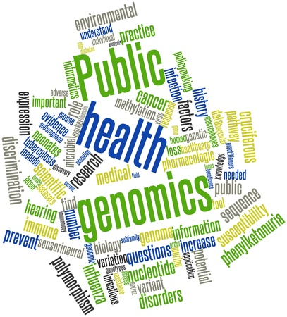 salud publica: Nube palabra abstracta para genómica en salud pública con etiquetas y términos relacionados