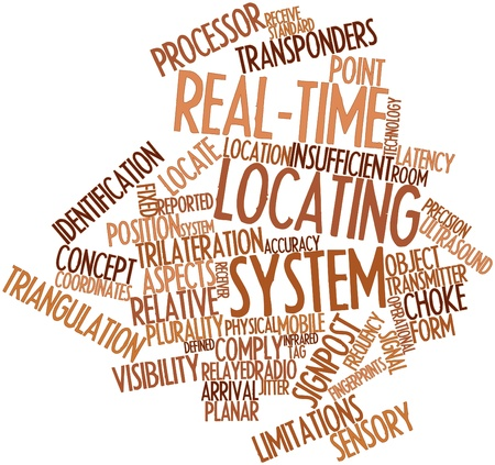 Abstract word cloud for Real-time locating system with related tags and terms Stock Photo - 16603191